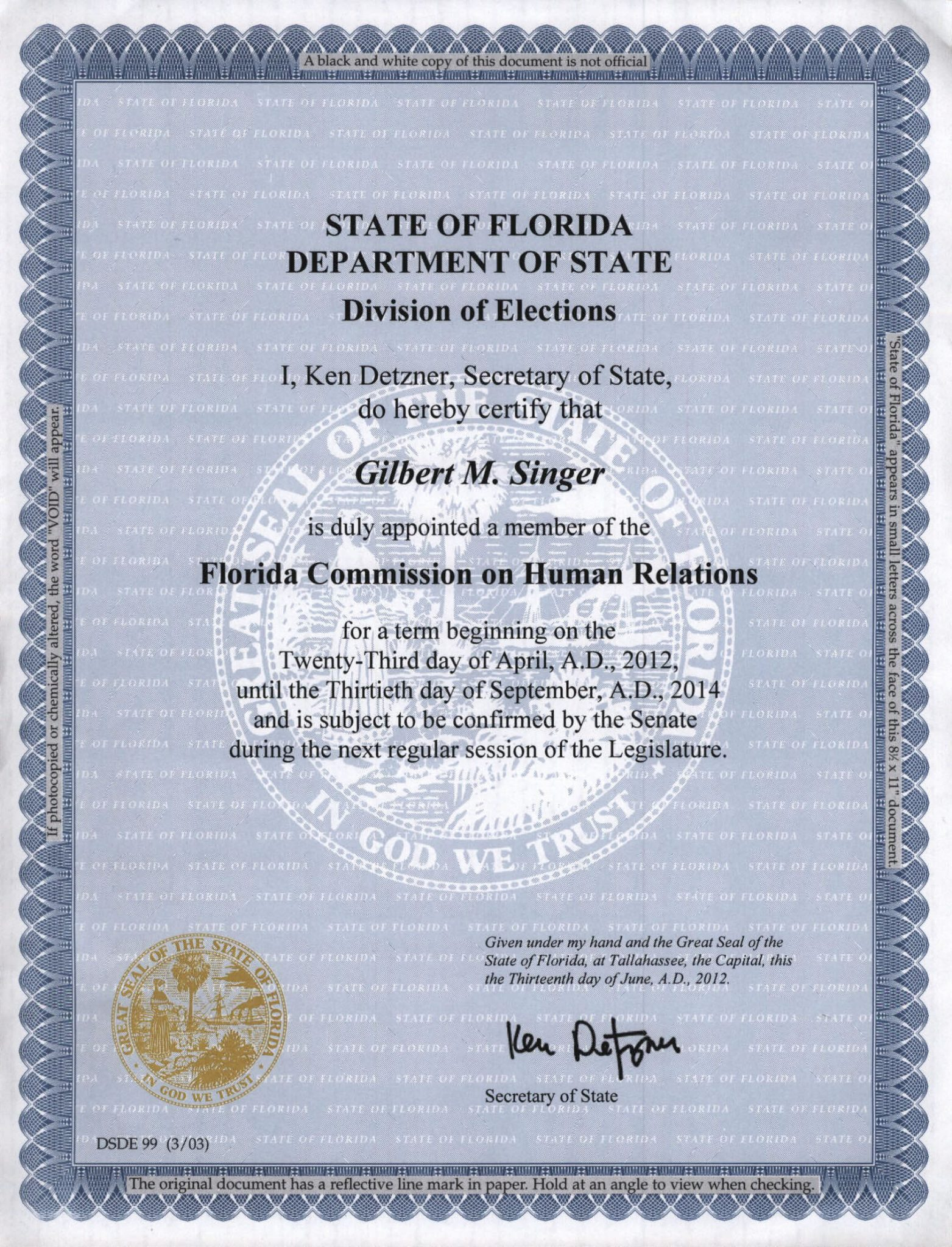 Gil Singer appointed to FL COmmission on Human Relations