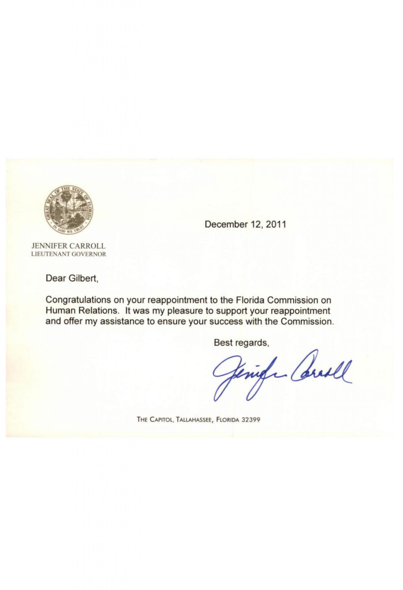 Letter from Lt Gov