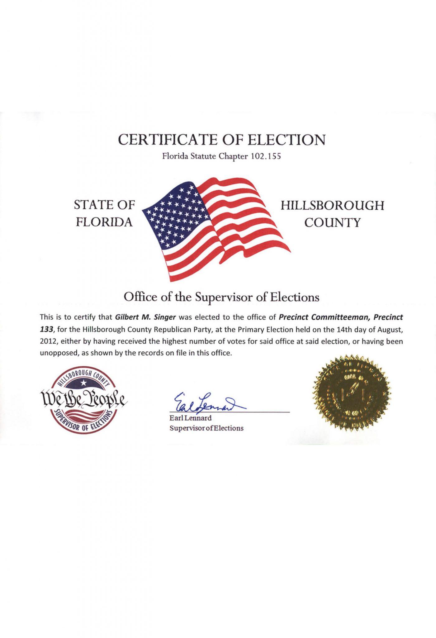 Supervisor of elections gil singer